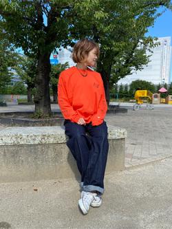 錦糸町PARCO店のKaeさんのEDWINの【再値下げ Winter sale】F.L.E 袖ロゴプリント ロングスリーブTシャツ Aを使ったコーディネート