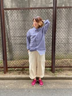 錦糸町PARCO店のKaeさんのEDWINの【シークレットセーール!!】ギンガムチェックシャツ 長袖を使ったコーディネート