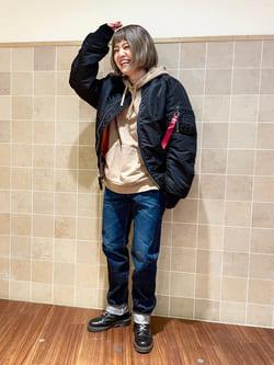 有楽町マルイ店のKaeさんのALPHAのMA-1 ナイロンジャケット U.S.サイズを使ったコーディネート
