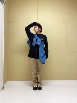 錦糸町PARCO店のKaeさんのEDWINの終了【決算SALE】ロゴ ボタンダウンシャツ 長袖(デニム)を使ったコーディネート
