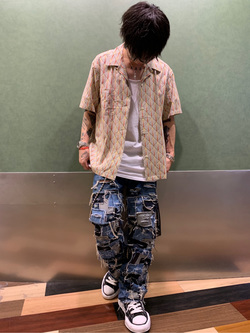 成田空港店(閉店)のSyoutaさんのLeeの終了【シークレットセーール!!】オープンカラーシャツ 半袖(プリント柄)を使ったコーディネート