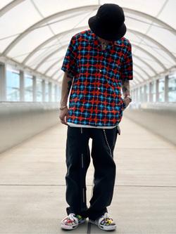 成田空港店(閉店)のSyoutaさんのLeeの【シークレットセーール!!】オープンカラーシャツ 半袖(プリント柄)を使ったコーディネート