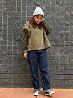 大阪店のAYAHOさんのLeeの【ボア×キルティング】クルーネック プルオーバーを使ったコーディネート