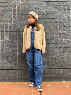 大阪店のAYAHOさんのLeeの【ユニセックス】【やわらかフリース】ノーカラージャケットを使ったコーディネート