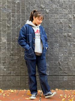 大阪店のAYAHOさんのLeeの【ユニセックス】DUNGAREES ペインターパンツを使ったコーディネート