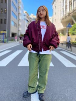 ALPHA SHOP渋谷店のn a n a s a さんのALPHAのMA-1 ナイロンジャケット U.S.サイズを使ったコーディネート