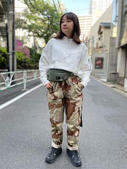 ALPHA SHOP渋谷店のn a n a s a さんのALPHAのイージーベーカーパンツ/シェフパンツを使ったコーディネート
