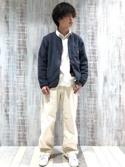 Lee 名古屋店のKazumaさんのLeeの【ユニセックス】【やわらかフリース】ノーカラージャケットを使ったコーディネート