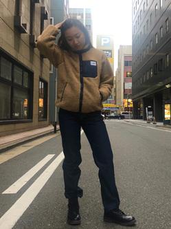 Lee アミュプラザ博多店のNanamiさんのLeeのキッズ あったかボア 配色ジャケット【105-150cm】を使ったコーディネート