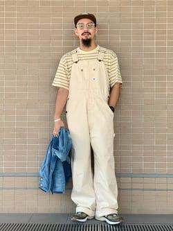 ルクア大阪の番場 祐太郎さんのLeeの【ユニセックス】LOW-BACK オーバーオールを使ったコーディネート
