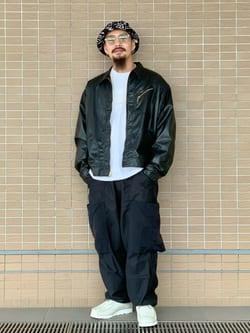 ルクア大阪の番場 祐太郎さんのLeeのフェイクレザー ワークジャケットを使ったコーディネート