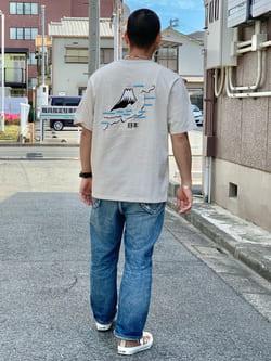 LINKS UMEDA店の番場 祐太郎さんのEDWINの【コンセプトショップ限定】EDWIN EUROPE SOUVENIR FROM JAPAN 2 TEEを使ったコーディネート