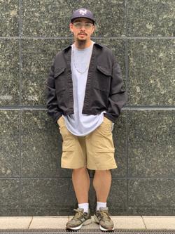 LINKS UMEDA店の番場 祐太郎さんのEDWINのカーゴ ショートパンツを使ったコーディネート