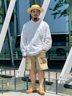 LINKS UMEDA店の番場 祐太郎さんのEDWINのラウンドカラー プルオーバー シャツ 長袖を使ったコーディネート