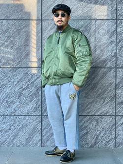 LINKS UMEDA店の番場 祐太郎さんののMA-1 ナイロンジャケット U.S.サイズを使ったコーディネート