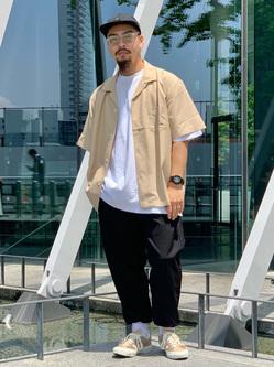 LINKS UMEDA店の番場 祐太郎さんのEDWINのオープンカラー 半袖シャツを使ったコーディネート