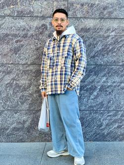 LINKS UMEDA店の番場 祐太郎さんのEDWINのミリタリーチェックネルシャツ 長袖(US NAVY CPO SHIRTSタイプ)を使ったコーディネート