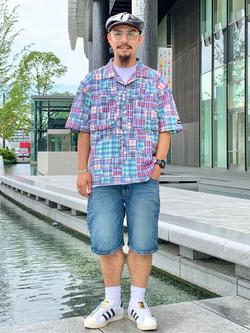 LINKS UMEDA店の番場 祐太郎さんのEDWINの【再値下げSALE】デニムハーフパンツを使ったコーディネート