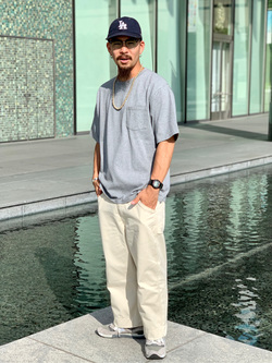LINKS UMEDA店の番場 祐太郎さんのEDWINの【直営店限定】【親子コーデができる】クルーネックポケットTシャツ 半袖 【110-180cm】を使ったコーディネート