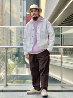 LINKS UMEDA店の番場 祐太郎さんのEDWINの【通販限定】YELLOW TAB BOXフィット デニムジャケットを使ったコーディネート