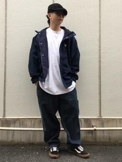 TOKYO HARAJUKU店のSHUさんのEDWINの【コンセプトショップ限定】F.L.E NAVY PACK  LEVEL6 SOFT JACKETを使ったコーディネート