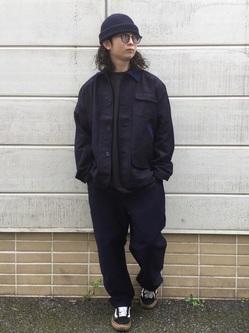 TOKYO HARAJUKU店のSHUさんのEDWINの【コンセプトショップ限定】INDIGO GARMENTS HUNTING JACKETを使ったコーディネート