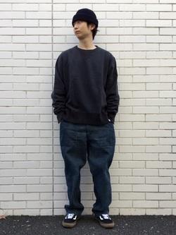 TOKYO HARAJUKU店のSHUさんのEDWINの【コンセプトショップ限定】CREW NECK SWEAT SHIRTSを使ったコーディネート