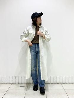札幌パセオ店のPinanchosuさんのLeeのバンドカラー デニム/コットン ロングシャツワンピースを使ったコーディネート