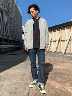ルミネエスト新宿店のYukiyaさんのLeeのスナップボタン スウェットジャケット/カーディガンを使ったコーディネート