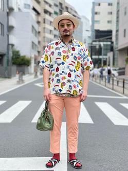 ALPHA SHOP渋谷店のKataoka.RさんのALPHAの終了【ガレージセール】総柄 レーヨンオープンカラーシャツを使ったコーディネート