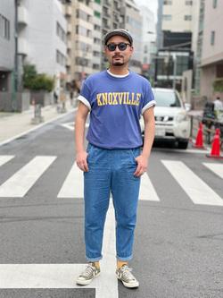 ALPHA SHOP渋谷店のKataoka.RさんのALPHAの終了【ガレージセール】KNOXVILLE ビンテージプリントTシャツを使ったコーディネート