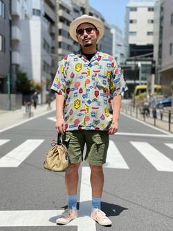 ALPHA SHOP渋谷店のKataoka.RさんのALPHAの総柄 レーヨンオープンカラーシャツを使ったコーディネート