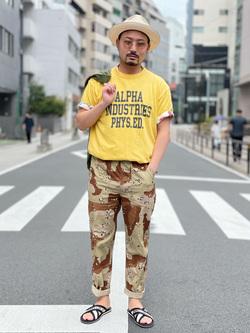 ALPHA SHOP渋谷店のKataoka.RさんのALPHAの【ガレージセール】イージーベーカーパンツ/シェフパンツを使ったコーディネート