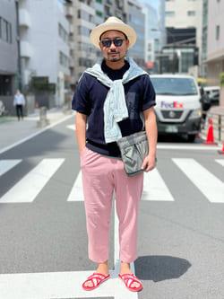 ALPHA SHOP渋谷店のKataoka.RさんのALPHAのニットポロシャツを使ったコーディネート