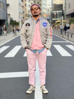 ALPHA SHOP渋谷店のKataoka.RさんのALPHAのMA-1 タイトジャケット アポロを使ったコーディネート