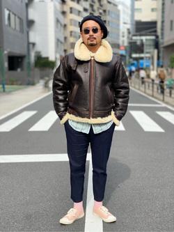 ALPHA SHOP渋谷店のKataoka.RさんのALPHAのB-3 シープスキンを使ったコーディネート