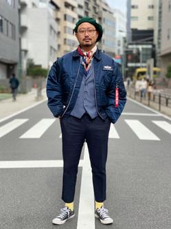 ALPHA SHOP渋谷店のKataoka.RさんのALPHAの【試着対象】【期間限定10%OFF】CWU-45/P ナイロンジャケットを使ったコーディネート