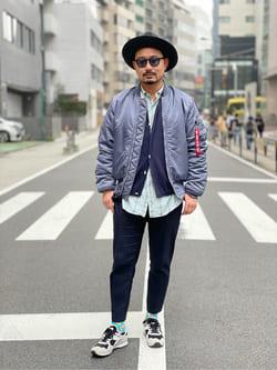 ALPHA SHOP渋谷店のKataoka.RさんのALPHAの【試着対象】MA-1 タイト ジャケット【ユニセックス】を使ったコーディネート