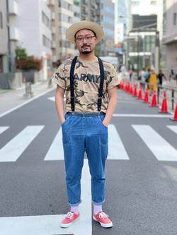 ALPHA SHOP渋谷店のKataoka.RさんのALPHAの終了【ガレージセール】カモフラージュ ARMY半袖Tシャツを使ったコーディネート