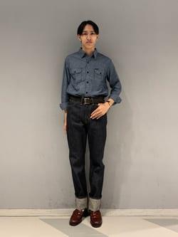 大阪店のスミタさんのLeeのシャンブレーワークシャツ長袖を使ったコーディネート
