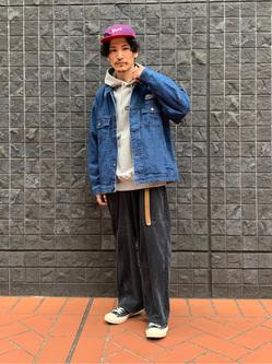 大阪店のサカモトヒロシさんのLeeの【男女兼用】刺繍Leeロゴ パーカーを使ったコーディネート