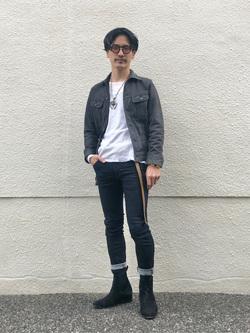 大阪店のサカモトヒロシさんのLeeのLeeオリジナルバンダナを使ったコーディネート