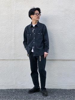 大阪店のサカモトヒロシさんのLeeのBLACK RIDERS デニムシャツを使ったコーディネート