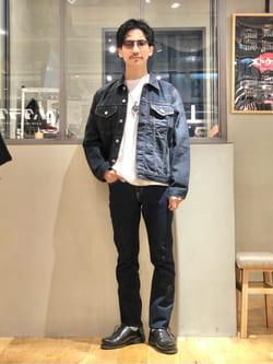 LINKS UMEDA店のサカモトヒロシさんのEDWINの【試着対象】デニム ジャケットを使ったコーディネート