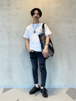 大阪店のサカモトヒロシさんのLeeのバックプリント 半袖Tシャツを使ったコーディネート