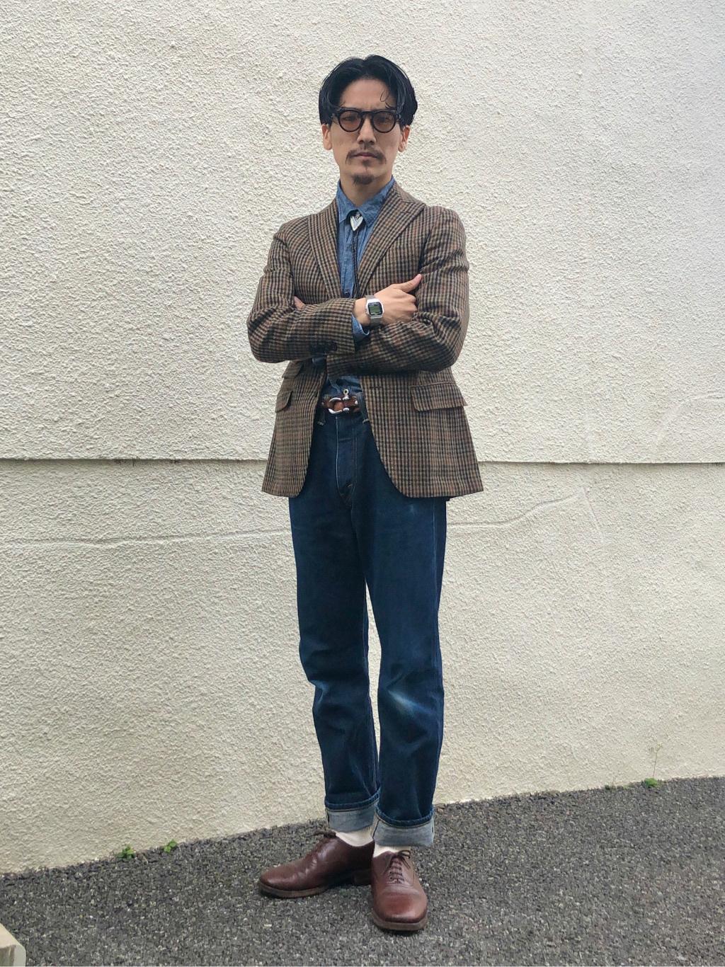 大阪店のサカモトヒロシさんのLeeのARCHIVES REAL VINTAGE 101Z 1952年復刻モデル (RAW 生デニム)を使ったコーディネート