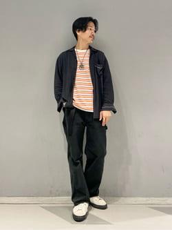大阪店のサカモトヒロシさんのLeeの【TOPS 15%OFFクーポン対象】【SALE】マルチボーダー 半袖Tシャツを使ったコーディネート