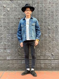 大阪店のサカモトヒロシさんのLeeの【シークレットセーール!!】L-3 立体裁断デニムジャケットを使ったコーディネート