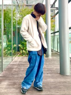 Lee アミュプラザ博多店のTaigaさんのLeeの【ユニセツクス】【やわらかフリース】ノーカラージャケットを使ったコーディネート
