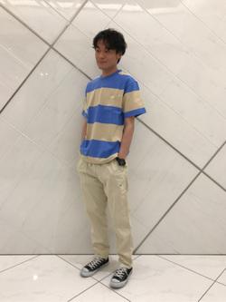 熊本COCOSA店のhironoriさんのLeeの終了【サマーセール】【男女兼用】ボーダーTシャツ 半袖を使ったコーディネート
